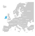 ireland marked by blue in grey political map of vector image vector image