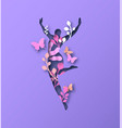 jumping woman silhouette with papercut nature vector image vector image
