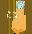 llama cute animal cartoon invitation card vector image