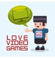 love video games avatar bubble speech technology vector image