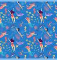 mermaids seamless pattern cute mermaids and girls vector image
