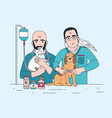 pair of smiling veterinarians holding cat dog and vector image vector image