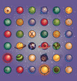 planets icon set vector image vector image