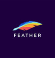 quill feather pen colorful logo icon vector image