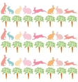 rabbits and carrots on a white background vector image vector image