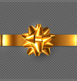 realistic glossy golden bow with ribbon vector image vector image