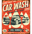 Retro car wash sign vector image vector image