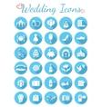 Round Flat Wedding Icons vector image