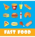 Set of fast food in the style of flat art vector image vector image