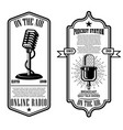 set vintage podcast radio flyers vector image vector image