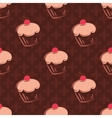 Tile cupcake pattern with brown background vector image vector image