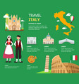 traveling to italy by landmark icons map vector image vector image