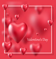 valentines day realistic 3d hearts poster on red vector image vector image