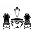 Vintage Baroque chair and table vector image