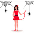 woman wearing devil costume horns tail spider web vector image vector image