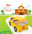 Children Going To School By School Bus vector image