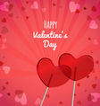Lollipops heart shaped Valentines Day vector image