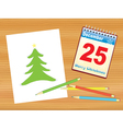Christmas tree drawing on table vector image