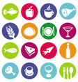 set or restaurant icons and food
