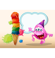 A monster jumping near the giant icecream vector image vector image
