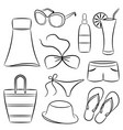 a set of beach accessories vector image vector image