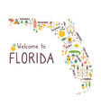 abstract map florida with symbols vector image