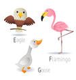 Alphabet with animals from E to G Set 2 vector image vector image