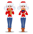 beautiful woman in winter clothes set of two vector image