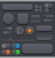 black interface buttons 3d set of icons vector image
