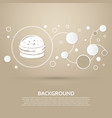 burger sandwich hamburger icon on a brown vector image vector image