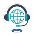 call center globe connection headphones vector image vector image