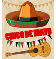 cinco de mayo poster design with guitar and hat vector image