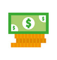 coins and bill money isolated icon vector image vector image