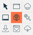 connection icons set with world wide web cloud vector image