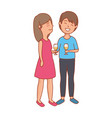 couple lovers with wine cups vector image