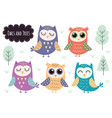 cute owls collection forest animals isolated vector image