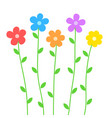 cute summer flowers in cartoon style on white for vector image vector image