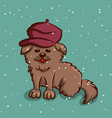 dog in beret on snowy background vector image vector image