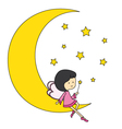 fairy sitting on the moon vector image vector image
