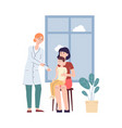 female doctor giving vaccine to child with parent vector image vector image