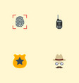 flat icons thumbprint walkie-talkie officer vector image vector image