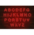 glowing neon letters english alphabet on brick vector image vector image