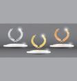 gold silver bronze laurel wreath on platform vector image vector image