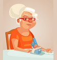 grandmother character measuring blood pressure vector image