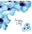 greeting card with flowers in watercolor vector image vector image