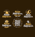 halloween label set holiday icons or logos vector image vector image