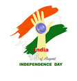 hand with indian flag and text vector image vector image