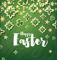 happy easter card with green flowers and neon vector image vector image