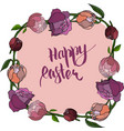happy easter card with peony vector image