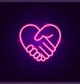 heart hands neon sign vector image vector image